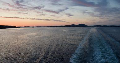 coucher soleil depuis ferry