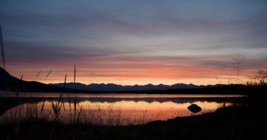coucher de soleil lac herbes